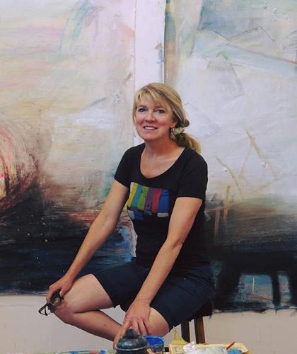 Artist Dorothea Osborn in her studio.